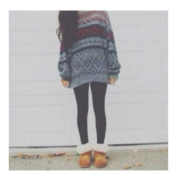 vintage patterned sweater sweater leggings ugg boots hipster