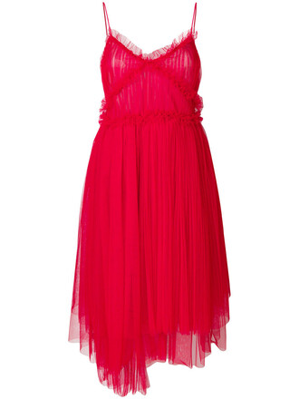 dress party dress pleated women red