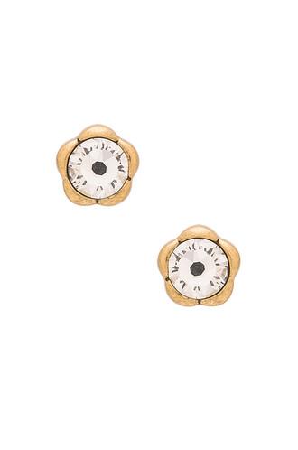 flower stud earrings sparkle earrings stud earrings metallic gold jewels