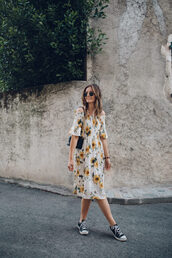 shoes,converse,black converse,dress,floral,floral dress,sunglasses
