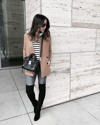 coat tumblr camel camel coat sweater stripes striped sweater bag black bag denim jeans grey jeans boots black boots over the knee boots over the knee sunglasses