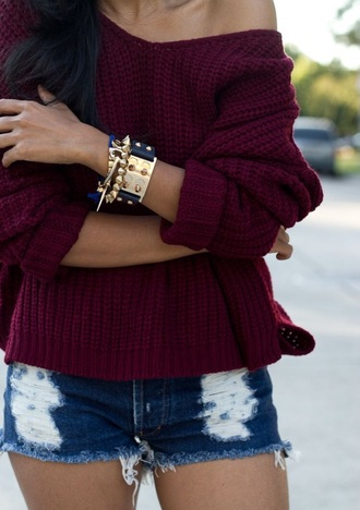 sweater burgundy oxblood batwing knit off the shoulder v neck