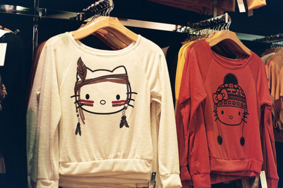 native american indian sweater hello kitty cute shirt winter sweatshirt pullover white red
