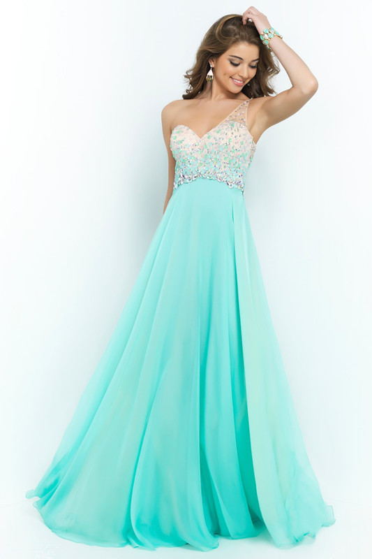 Long Prom Dresses 2014 New Beaded One Shoulder A Line Floor Length in Stock Pull Size Vestido De Renda-in Prom Dresses from Apparel & Accessories on Aliexpress.com