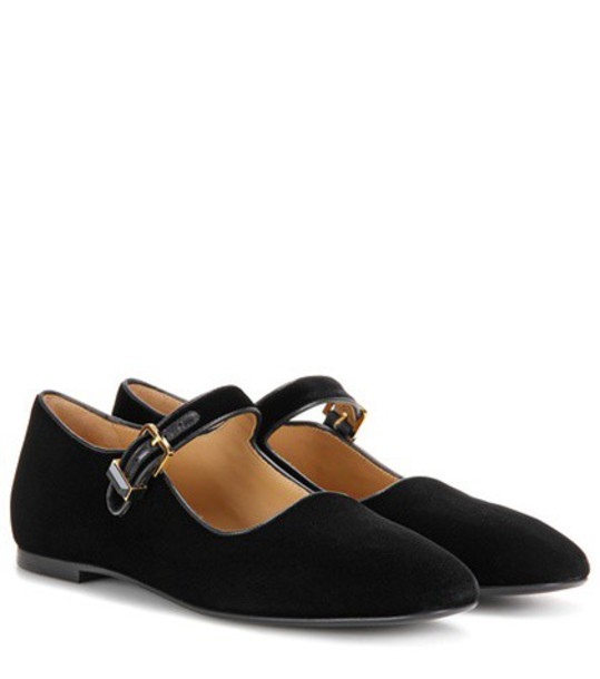 The Row Velvet Mary Jane Ballerinas in black