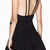 abaday Backless Double Shoulder Straps Black Skater Dress