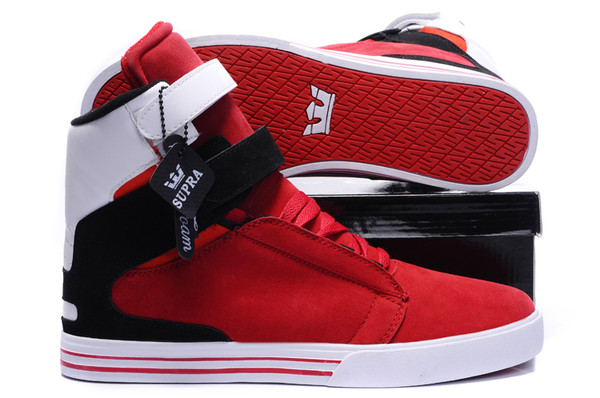 shoes supra red black and white