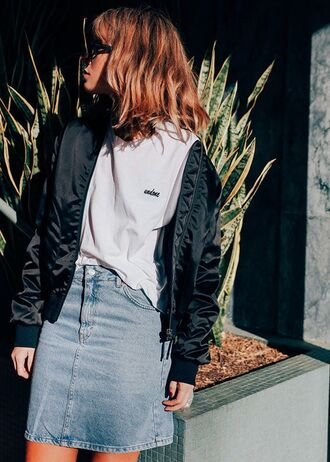 t-shirt tumblr white t-shirt jacket black jacket bomber jacket satin bomber black bomber jacket skirt mini skirt blue skirt denim skirt