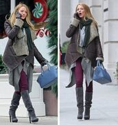 shoes,heels,boots,jacket,winter outfits,cardigan,cold,coat,scarf,jeans,pants,fashion,pretty,cool,love,white,black,beige,brown,red,grey,blake lively,celebrity,over the knee,knee high