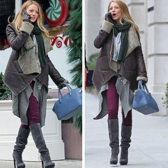 scarf fashion red black white cardigan grey shoes high heels boots jacket winter cold coat jeans pants pretty cool love beige brown blake lively celebrity over-the-knee knee high scarf red