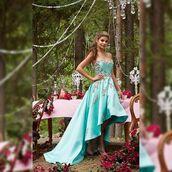 dress,Mori Lee,blue dress,aqua dress,strapless,high and low,prom dress,homecoming,homecoming dress,floral dress