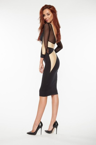 Gold And Black Dress Gold And Black Bodycon Midi Bodycon Long