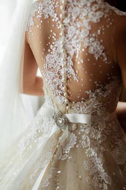 dress wedding dress lace dress pearl white bow white dress elegant dress detail