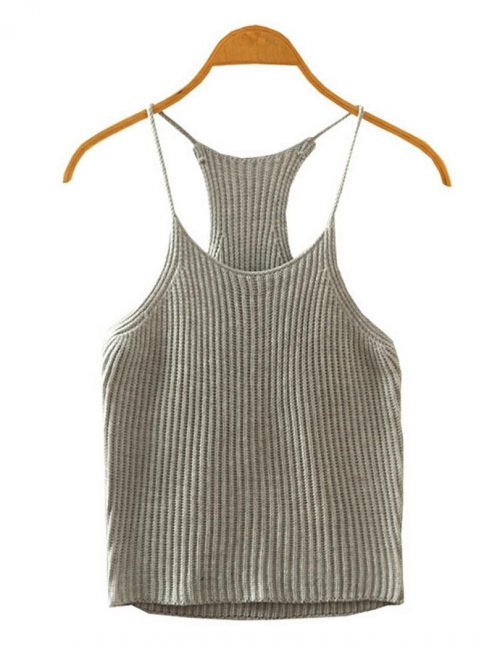 Women's Crochet Midriff Bearing Knitted Crop Top