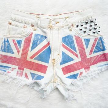 Vintage Union Jack High Waisted Levi's Studded Cut Off Denim Shorts on Wanelo