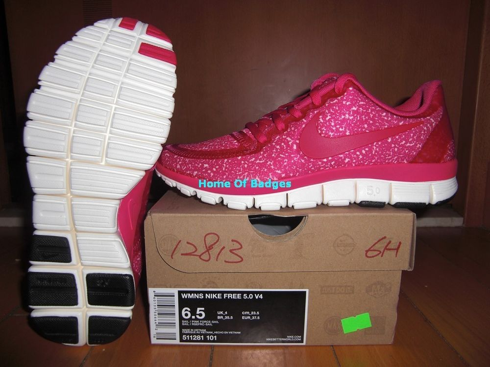 Nike 2013 women free 5 0 v4 running shoes sneaker 511281 101 sail pink force