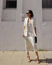 jacket,white blazer,platform sandals,midi skirt,top,bag