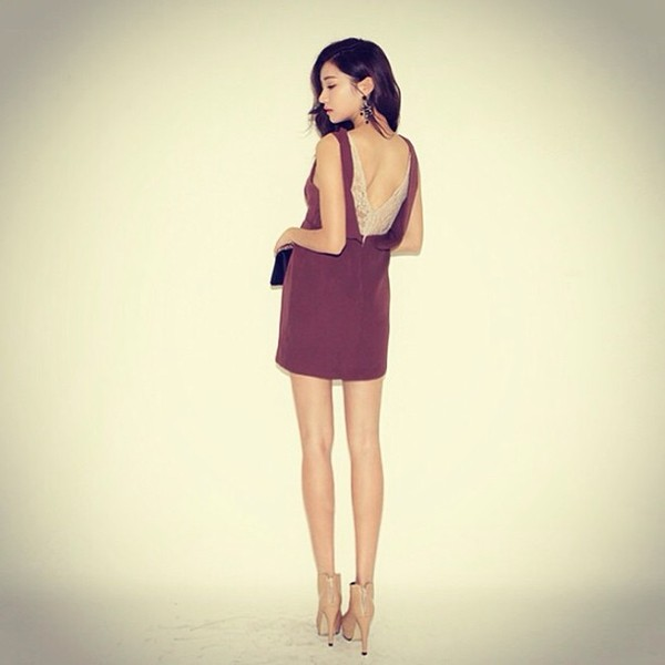 dress stylenanda burgundy lace