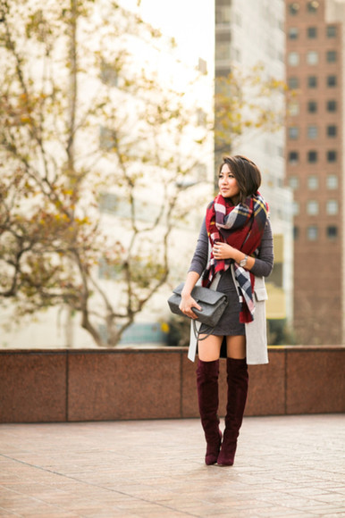 wendy's lookbook blogger jacket bag jewels scarf tartan thigh high boots burgundy