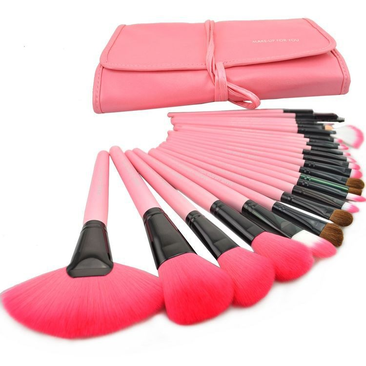 24 pcs pink professional brushes set - Brandliker   Online Accessories & Clothing store