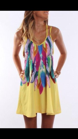 dress feathers yellow short short dress dress with feathers
