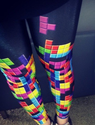 Tetris Print Leggings by HotPiinkRUs on Etsy