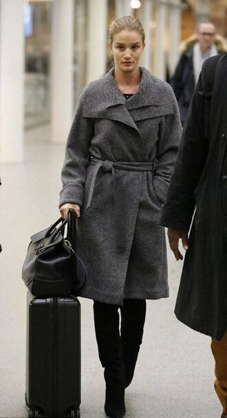 coat rosie huntington-whiteley grey fall outfits