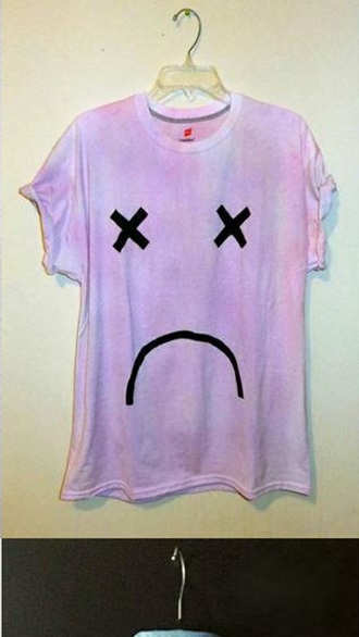 shirt colorful pastel t-shirt purple sad