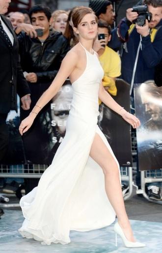 dress white emma watson slit long prom