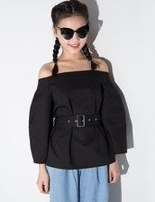 top,korean trends,korean style,daily look,daily find,ootd,nanda style,pixie market,pixie market girl,pixie girl,off the shoulder top,black top,belted top,korean fashion,ballon sleeve blouse
