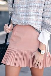 skirt,ruffle skirt,mini skirt,pink skirt,ruffle,black watch,watch,sweater,printed sweater,tumblr,pastel pink,pastel skirt