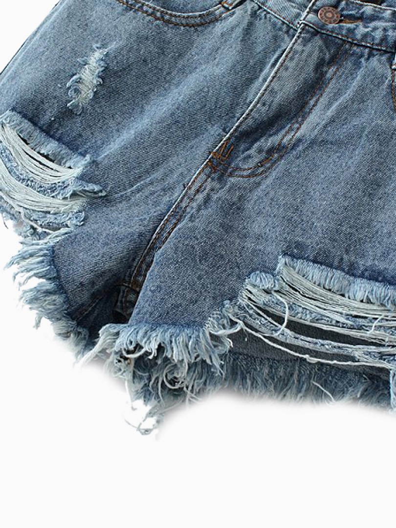 Cut Out Denim Shorts With Tassel Detail - Persunmall.com