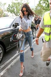 shoes,sandals,jeans,ripped jeans,top,crop tops,blue top,off the shoulder top,off the shoulder,long sleeves,bag,balenciaga,sunglasses,round sunglasses,kendall jenner,celebrity,summer outfits