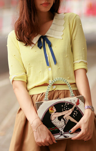 cardigan mellow mayoness yellow sweater sweater