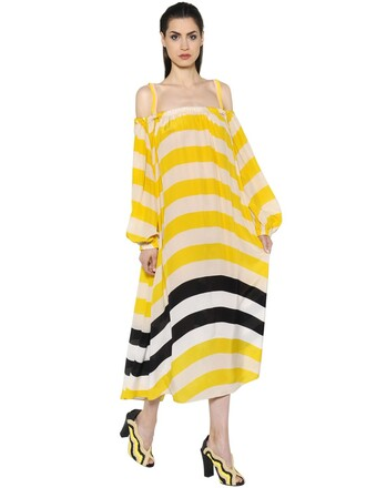 dress off the shoulder yellow