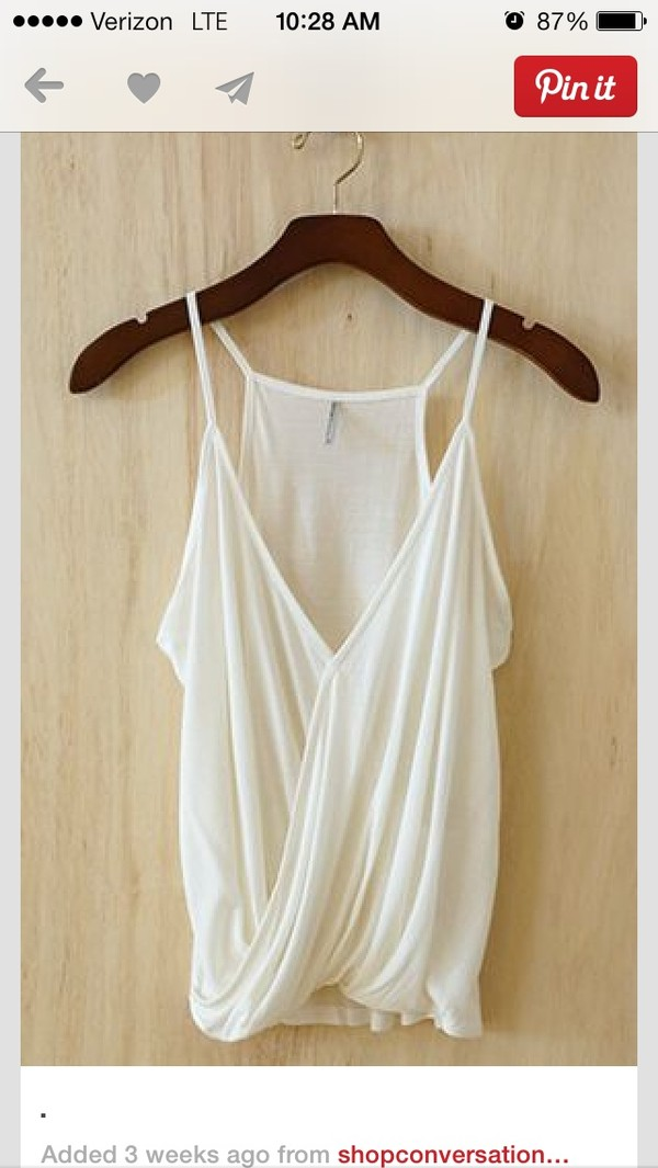 blouse shirt clothes white flowy thin straps summer white tank top tank top straps low cut
