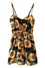 ROMWE | ROMWE Sunflowers Print Elastic Waistband Strap Dress, The Latest Street Fashion