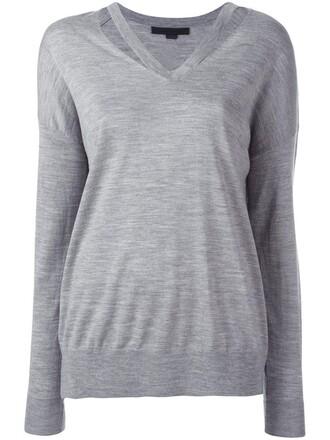 jumper cut-out women grey sweater