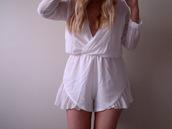 dress,white,romper,plunge neckline