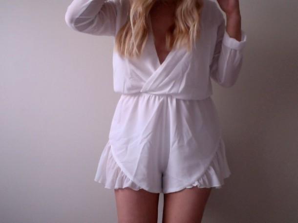dress white romper plunge neckline