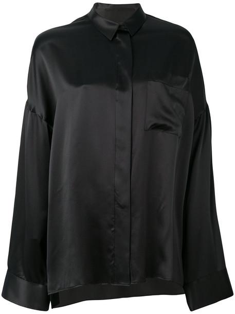 Haider Ackermann - oversized shirt - women - Silk Satin - 36, Black, Silk Satin