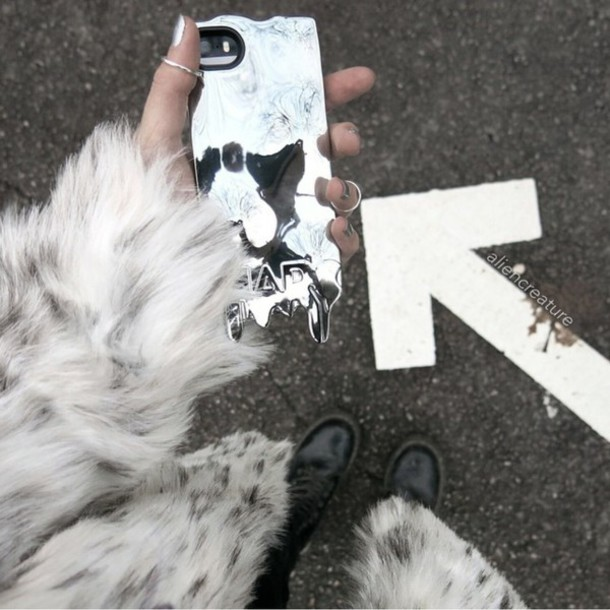 phone cover phone holographic phone cover cover mirror alien grunge hippie hipster mark corse metallic coat