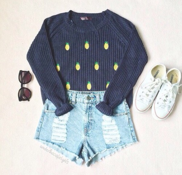 grey pineapple fruits sweater shorts winter outfits jumper navy denim converse indie