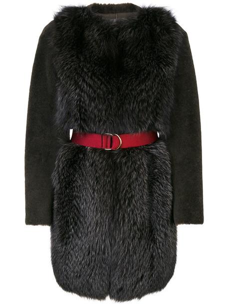 BLANCHA coat fur coat fur fox women leather green