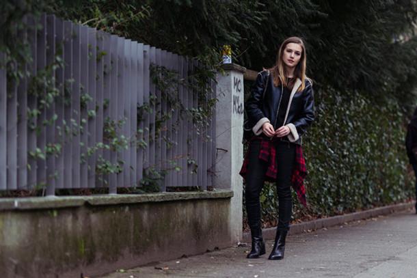fashion gamble blogger leather jacket flannel shirt shirt sweater jacket jeans shoes bag