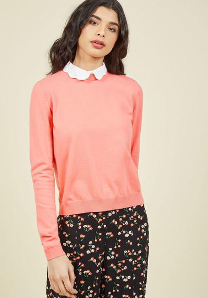 Tsl0778 sweater pullover pink sweater classic feminine white pink orange
