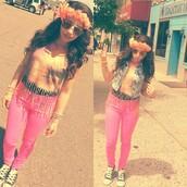 hair accessory,tie die shirt,skinny jeans,shoes,jean vest,flower crown