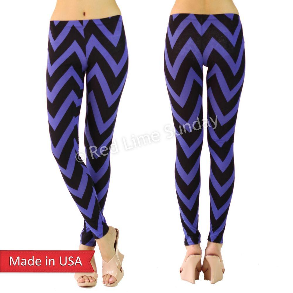 New Women Blue Black Chevron Zigzag Stripe Cotton Leggings Tights Pants USA
