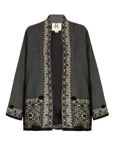 26e6e5e325ce FIGUE Haveli embroidered wool and cashmere-blend jacket in grey / multi