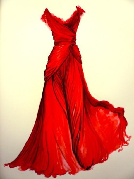 Dress Prom Dress Red Drawing Long Dress